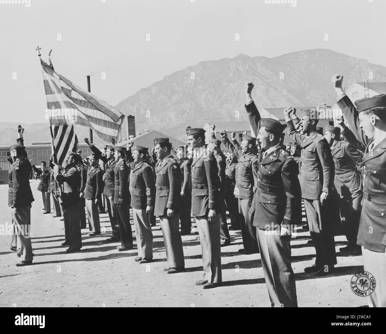 Greeks of the 122 Infantry battalion vow to avenge the invasion of their land, circa 1943. - Stock Image