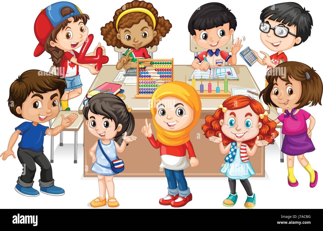 Many kids learning math in classroom illustration Stock Vector Art ...