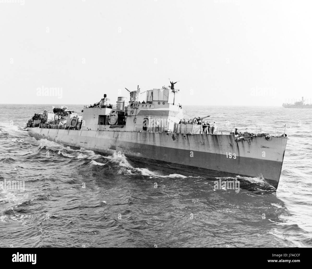 USS Bernadou at sea during the North African invasion operation, 1942. - Stock Image