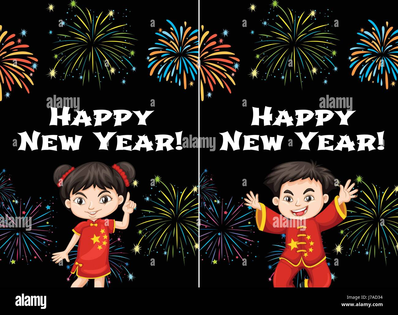 chinese kids and happy new year card templates illustration stock image