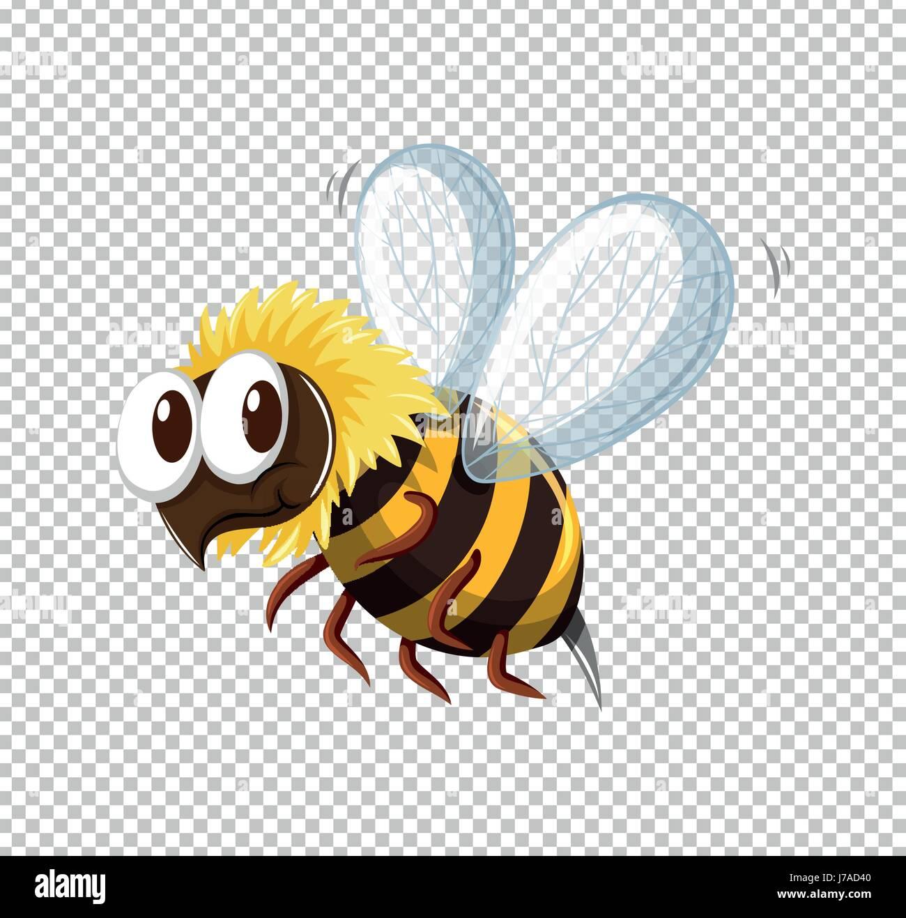 Little Bee Flying On Transparent Background Illustration