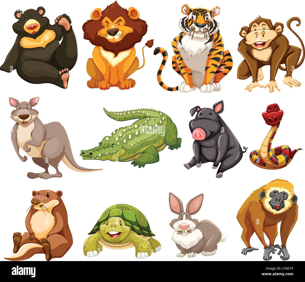 Different kinds of jungle animals illustration Stock Vector