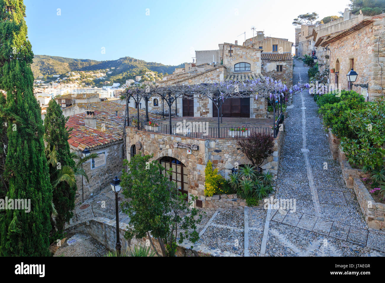 Spain, Catalonia, Costa Brava, Tossa de Mar, inside the Vila Vella - Stock Image