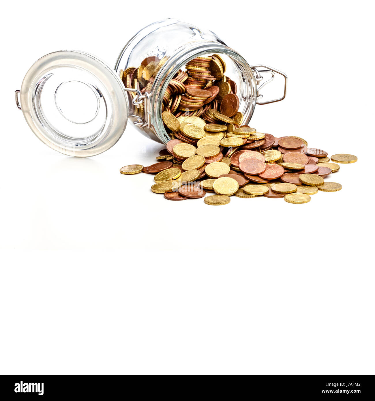 coins euro in classic glass jar save concept - Stock Image