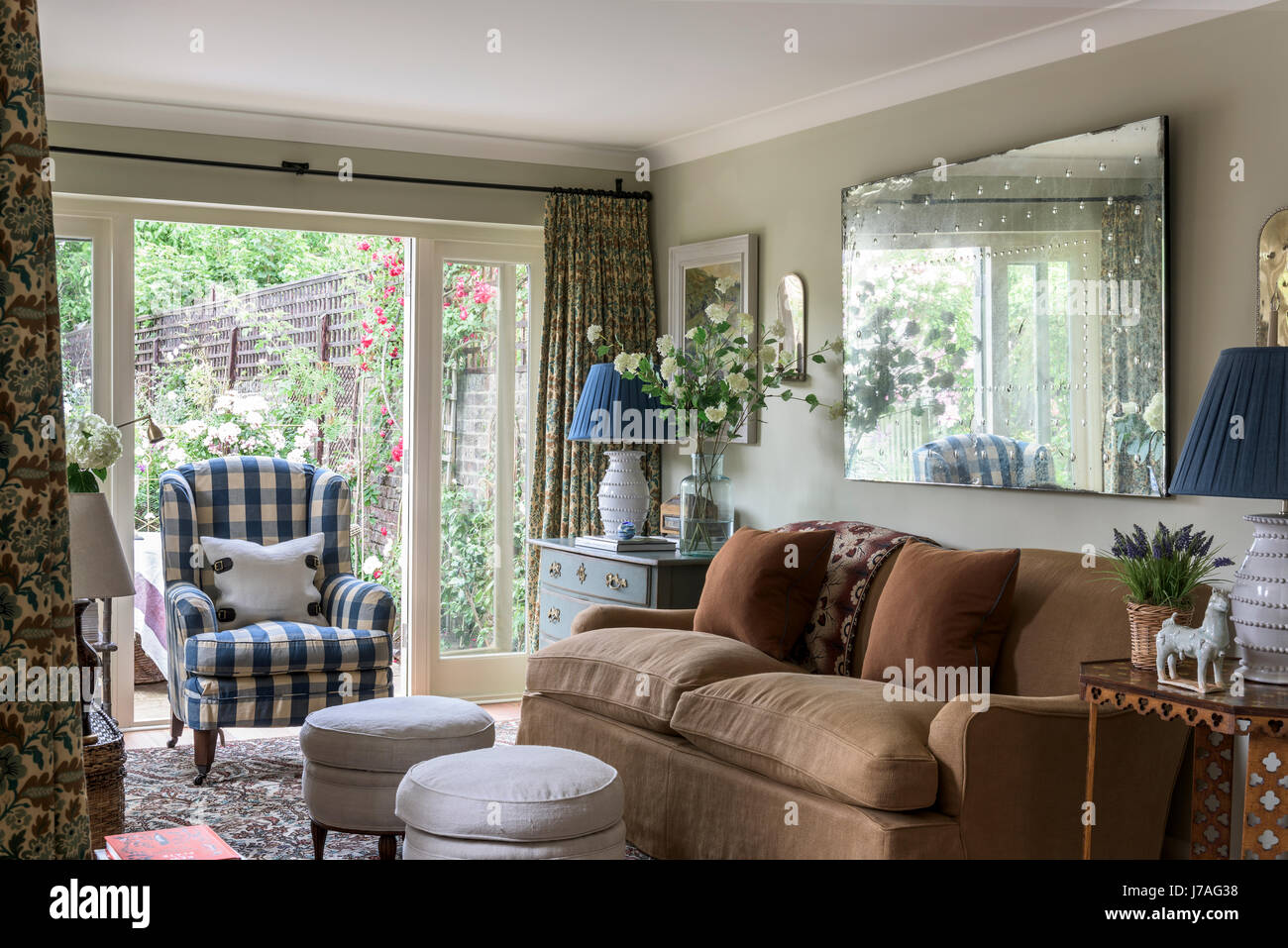 Wingback Chair Upholstered In Colefax U0026 Fowler Eaton Check In Sitting Room  With Lawson Wood Sofa Upholstered In Linen From Rogers U0026 Goffigon