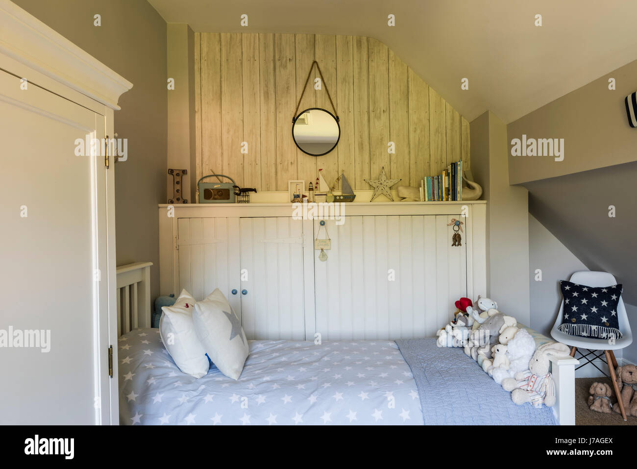 Cosy boys bedroom with bed from the White Company and start ...