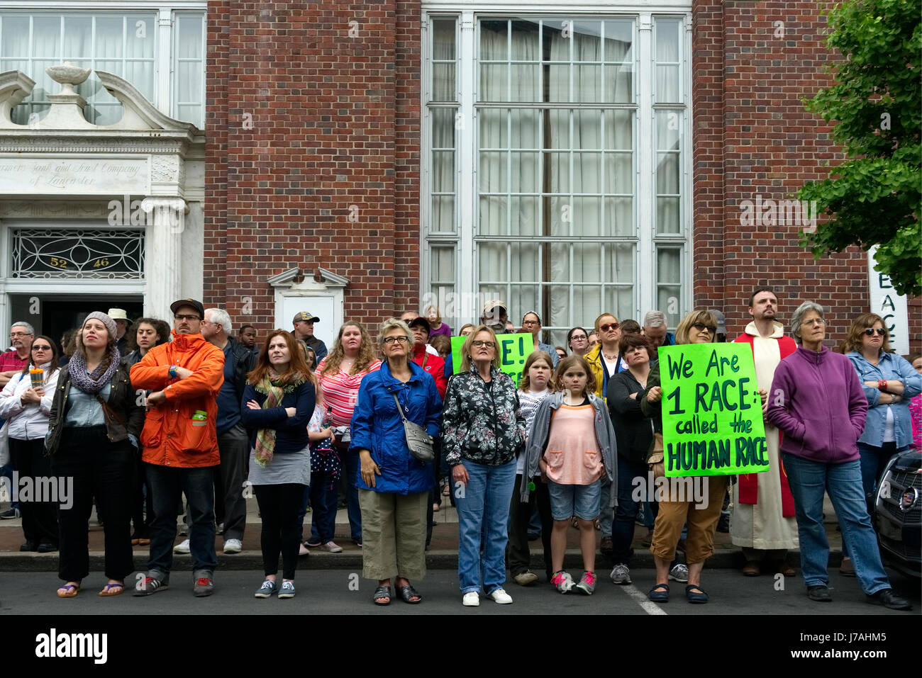 Lancaster, PA, USA - May 20, 2017; Activists and community members gather at the courthouse steps, in Lancaster, - Stock Image