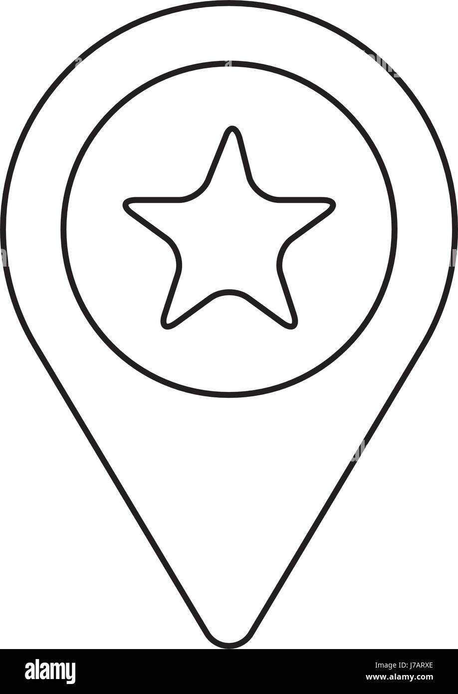 line search sign with star inside icon - Stock Vector