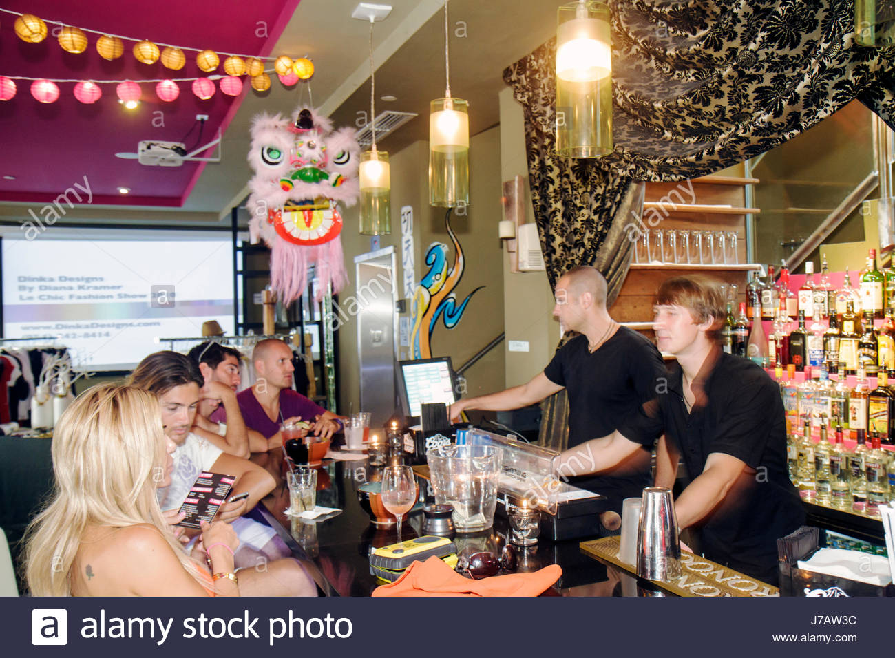 miami beach florida collins avenue kung fu kitchen and sushi restaurant bar bartenders customers interior - Kung Fu Kitchen