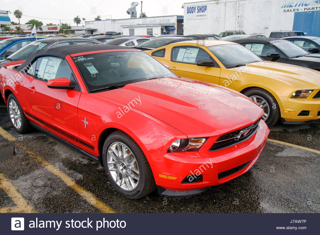 Miami Florida Metro Ford dealer new cars lot red Mustang convertible ...