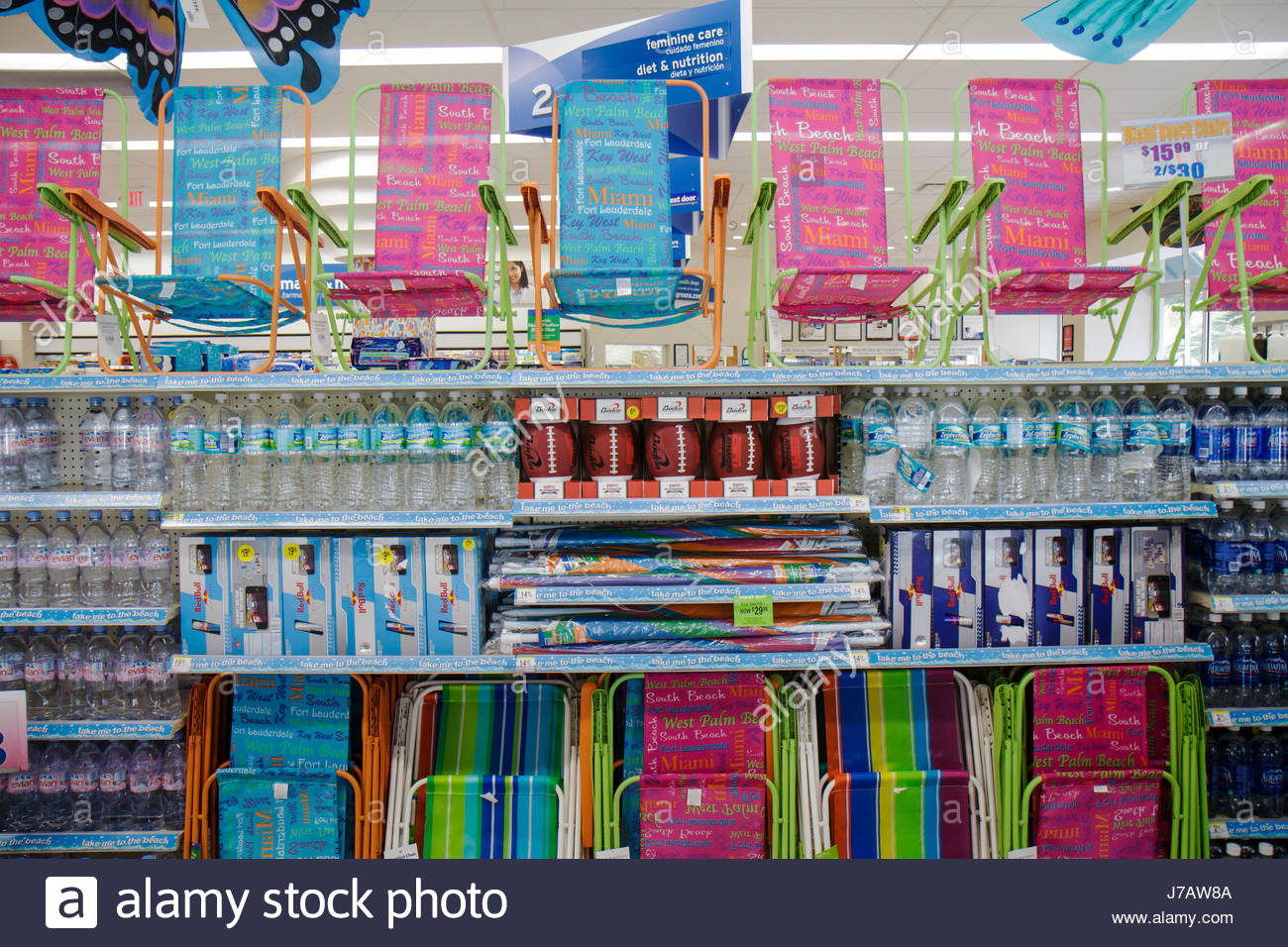 Charmant Miami Beach Florida Walgreens Pharmacy Drugstore Retail Display For Sale  Folding Chairs Bottled Water   Stock