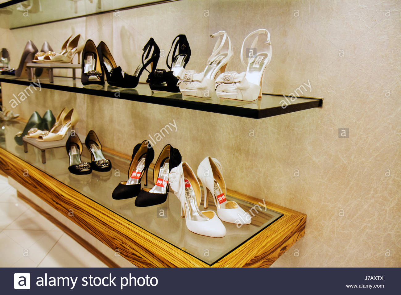 Miami Florida Dadeland Mall Macy's Department Store shopping for sale retail display fashion shoes women's - Stock Image