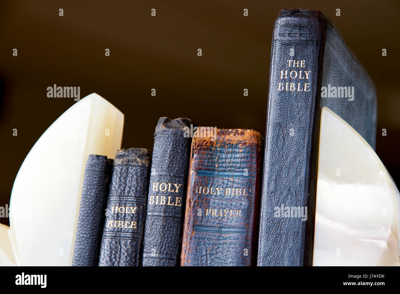 Vintage Leather Look Jeremiah Verse Bible Book Cover Large: Old Bibles And Prayer Books Stock Photo: 142226607