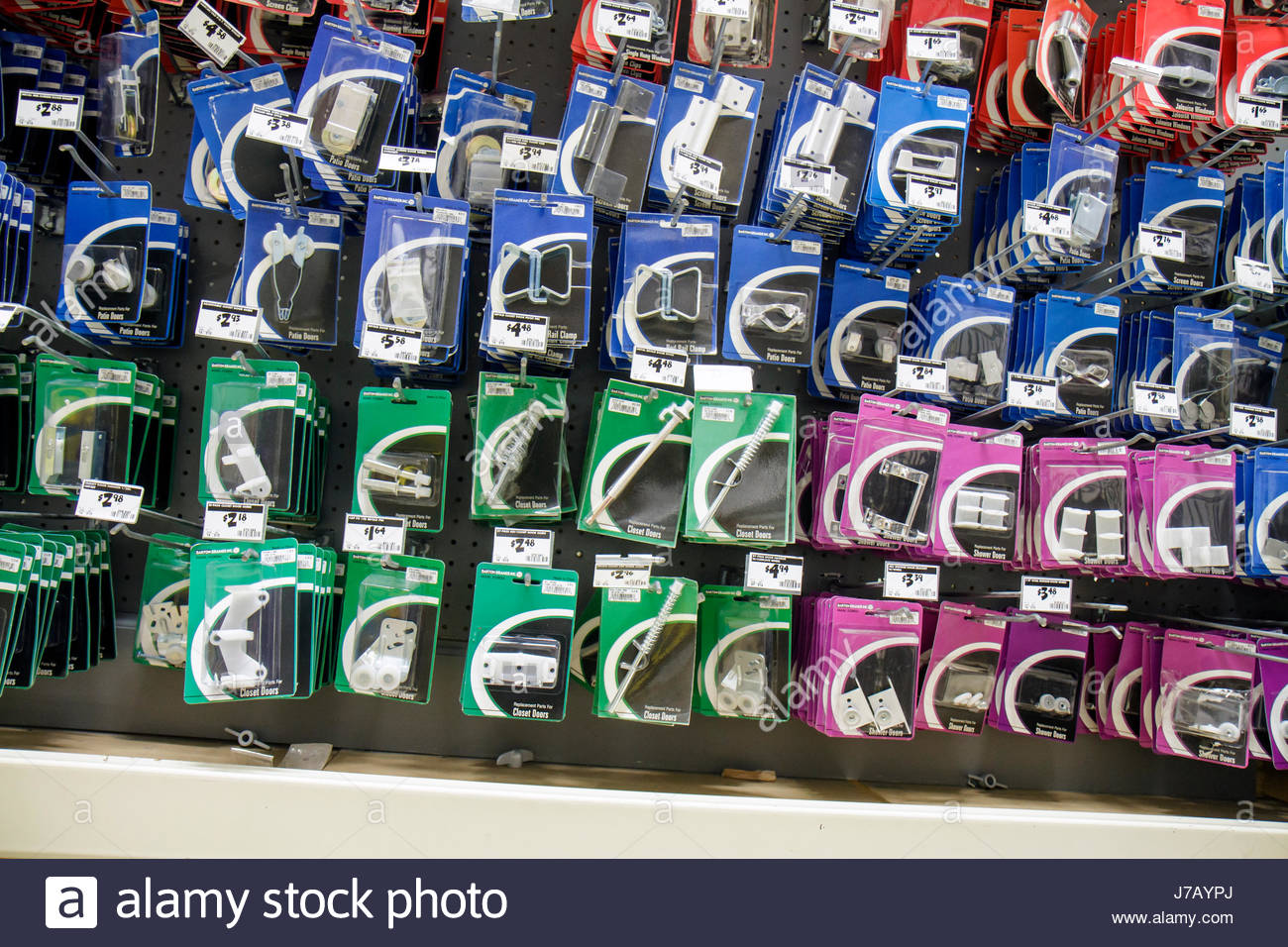 Miami Coconut Grove Florida The Home Depot door parts hinges fasteners retail display packaging for sale - Stock Image