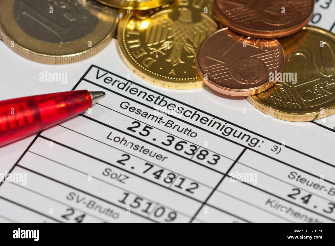 accounting tax salary net gross payroll accounting wages wage abrechnen Stock Photo