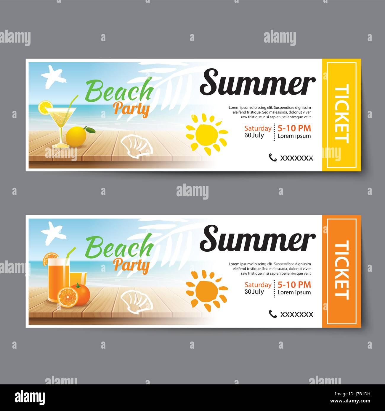 summer pool party ticket template stock vector art illustration