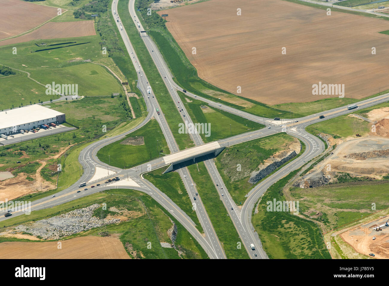 Aerial View Of Interstate Highway Interchange - Stock Image
