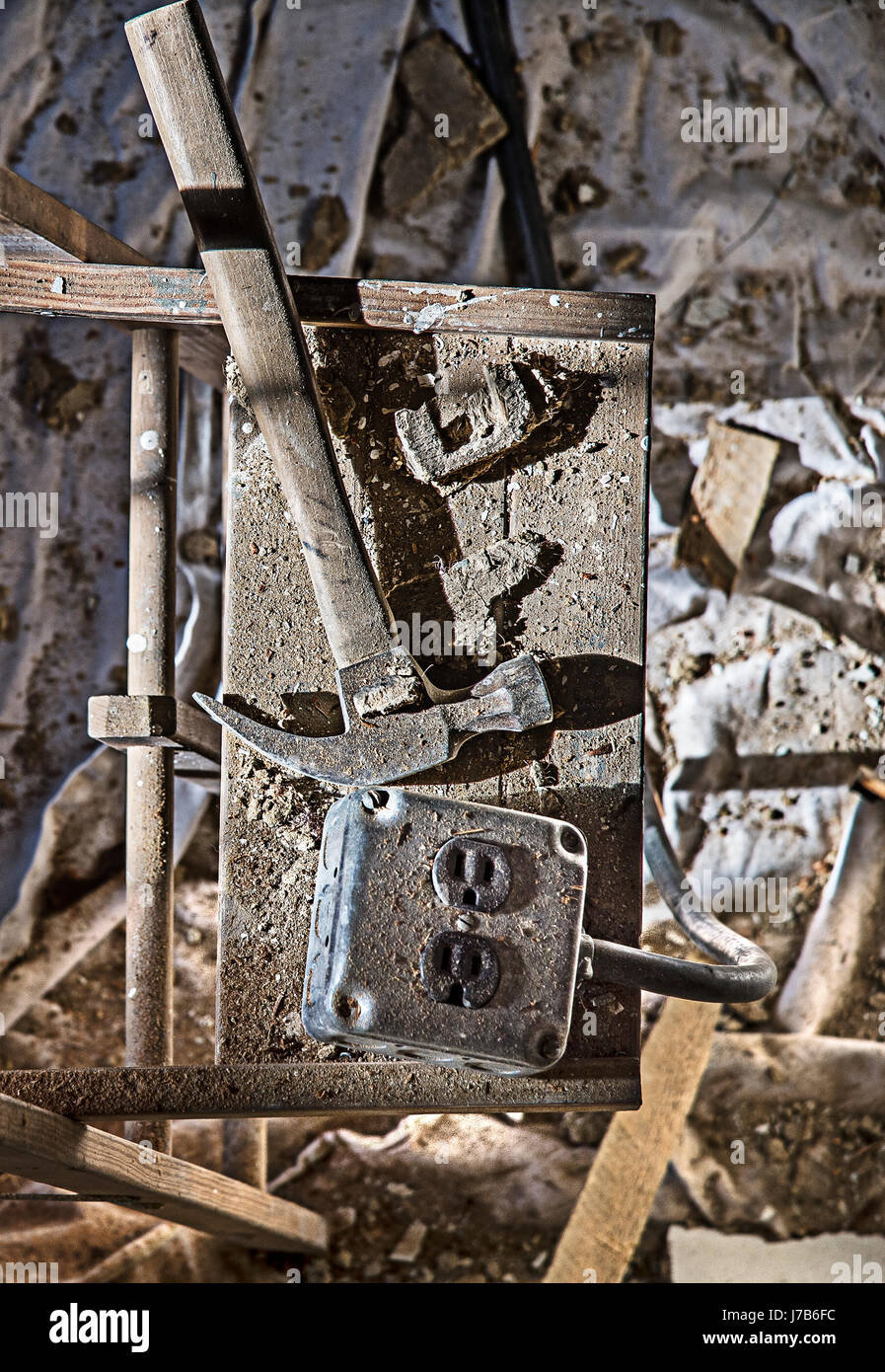 Messy Construction & Demolition Detail - Stock Image