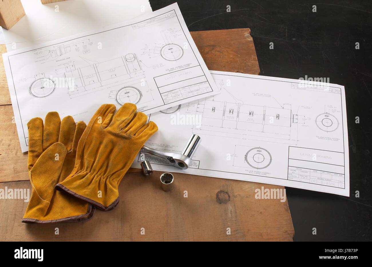Construction Site Blueprints - Stock Image