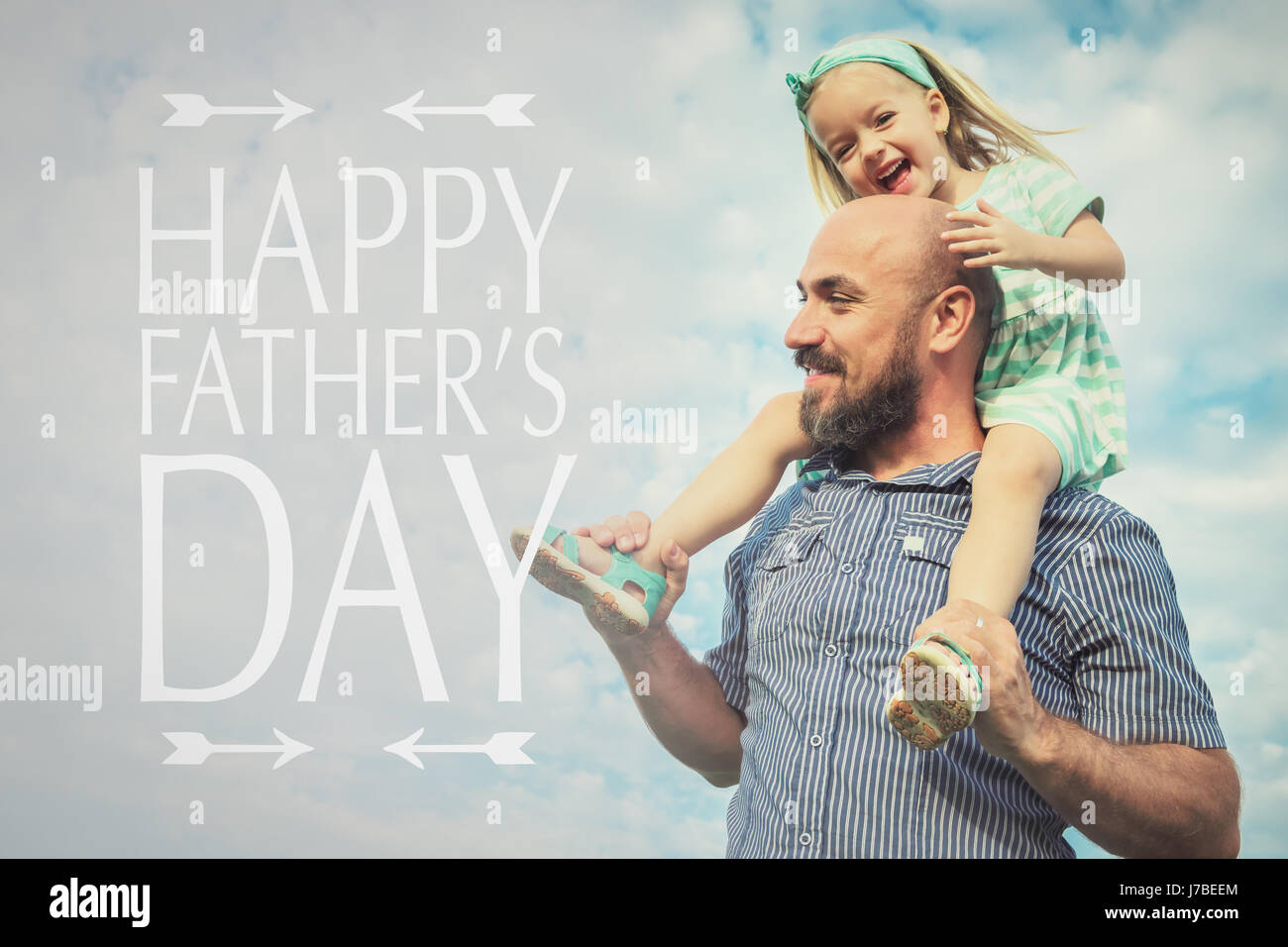 Adorable daughter and father portrait, happy family, father's day background - Stock Image