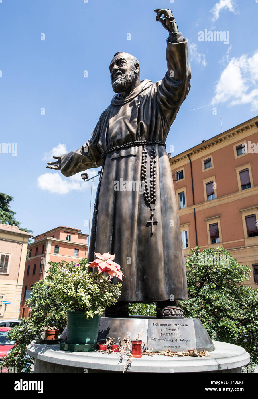 Bronze Statue of Padre Peo Bologna Italy - Stock Image