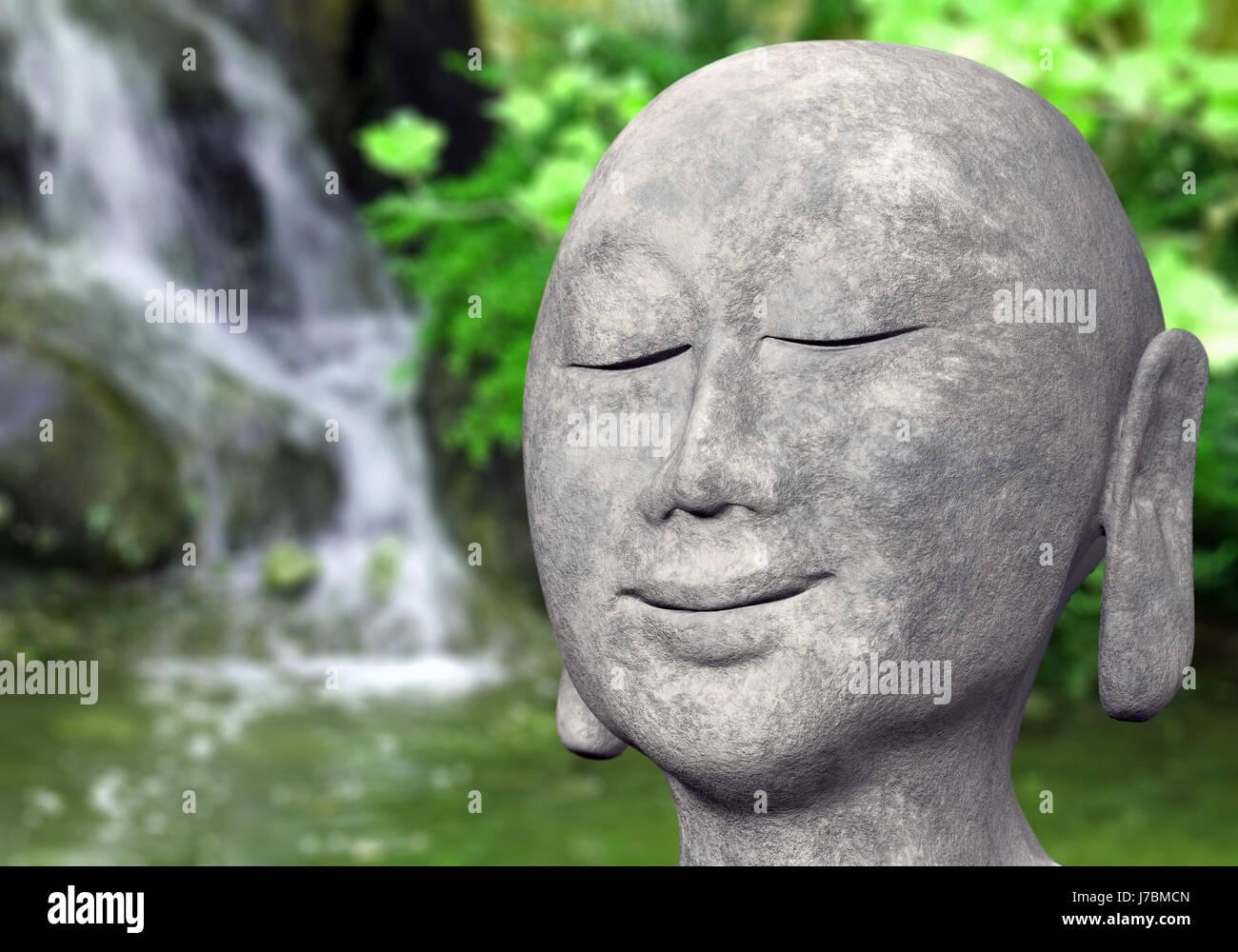 Garden Stone Green Buddha Gardens Zen Grey Gray Water Head Laugh Stock Photo Alamy