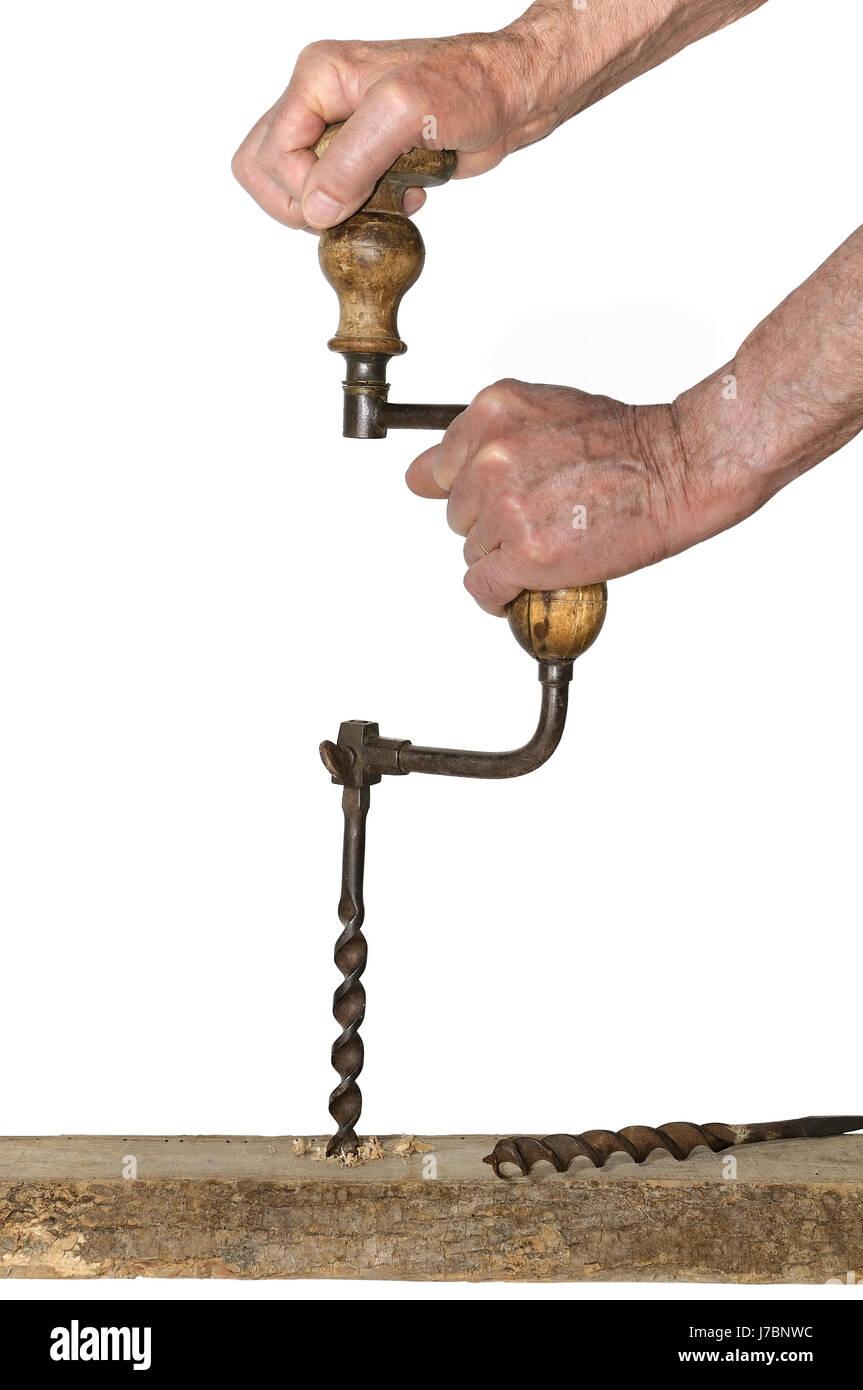 tools isolated wood drill joinery cabinetmaker men man tools job macro close-up Stock Photo