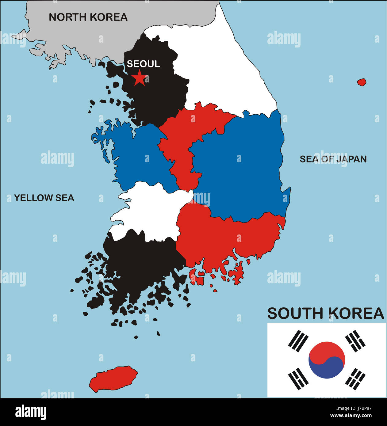 South Korea Map Atlas Map Of The World Political Illustration Flag