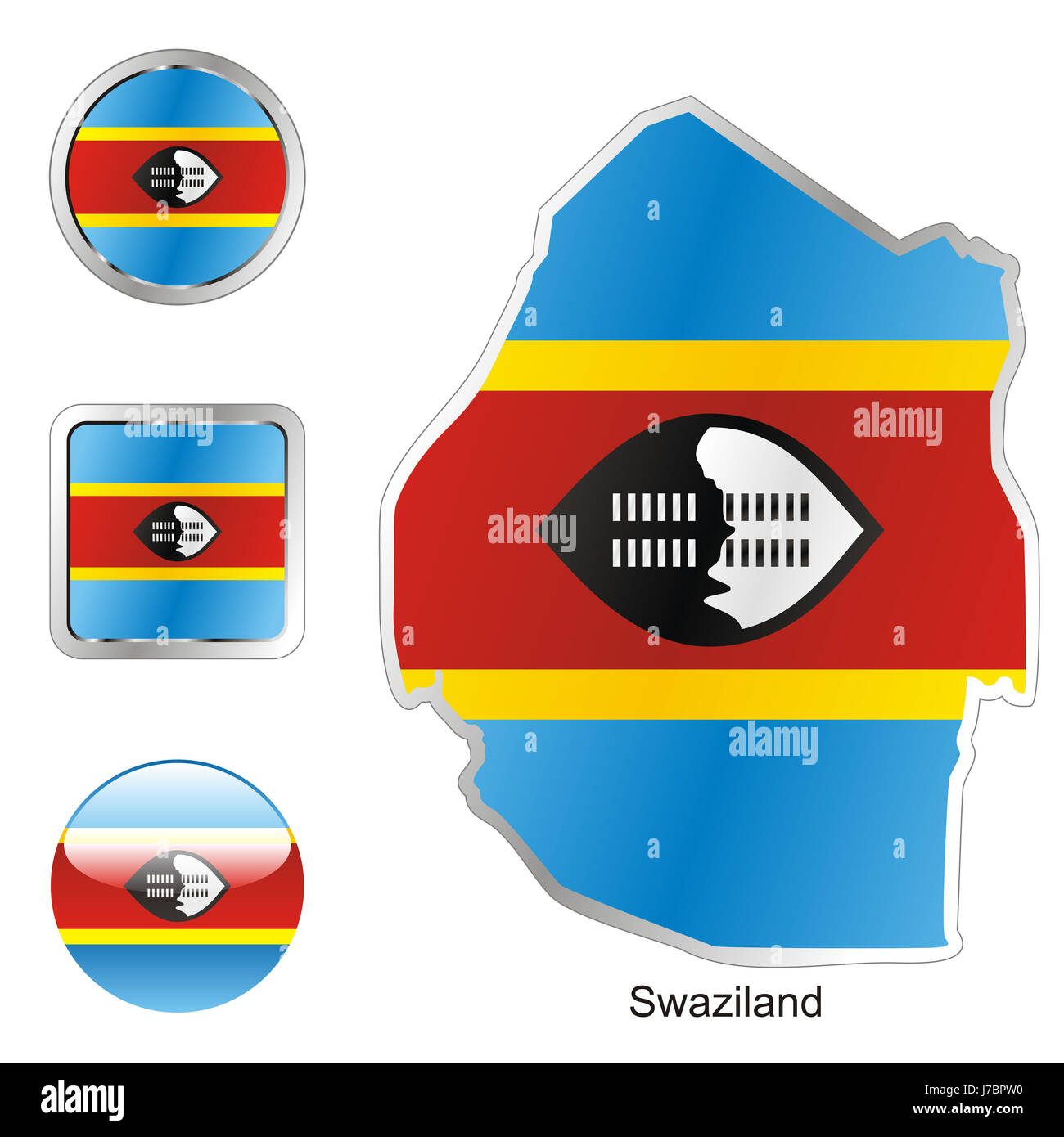 africa illustration flag button swaziland travel colour emblem africa Stock Photo