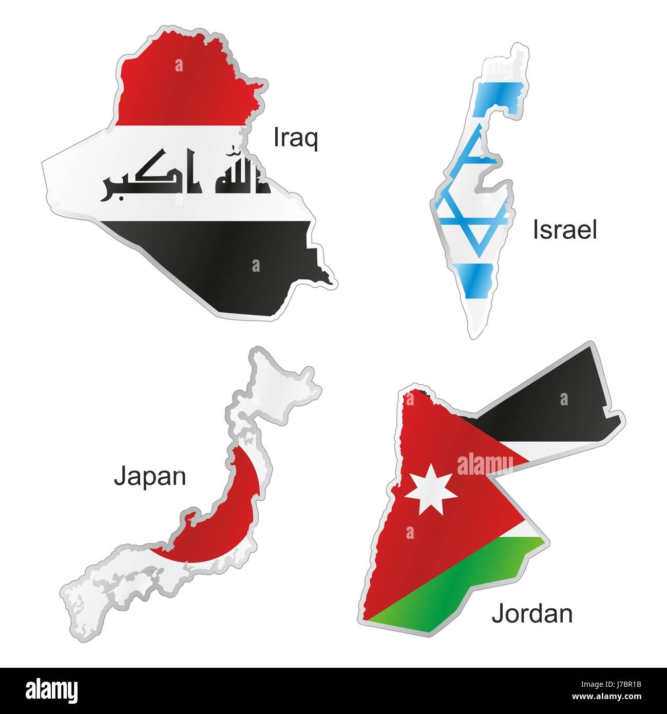 Asia jordan flag israel japan iraq map atlas map of the world stock asia jordan flag israel japan iraq map atlas map of the world isolated currency gumiabroncs Choice Image
