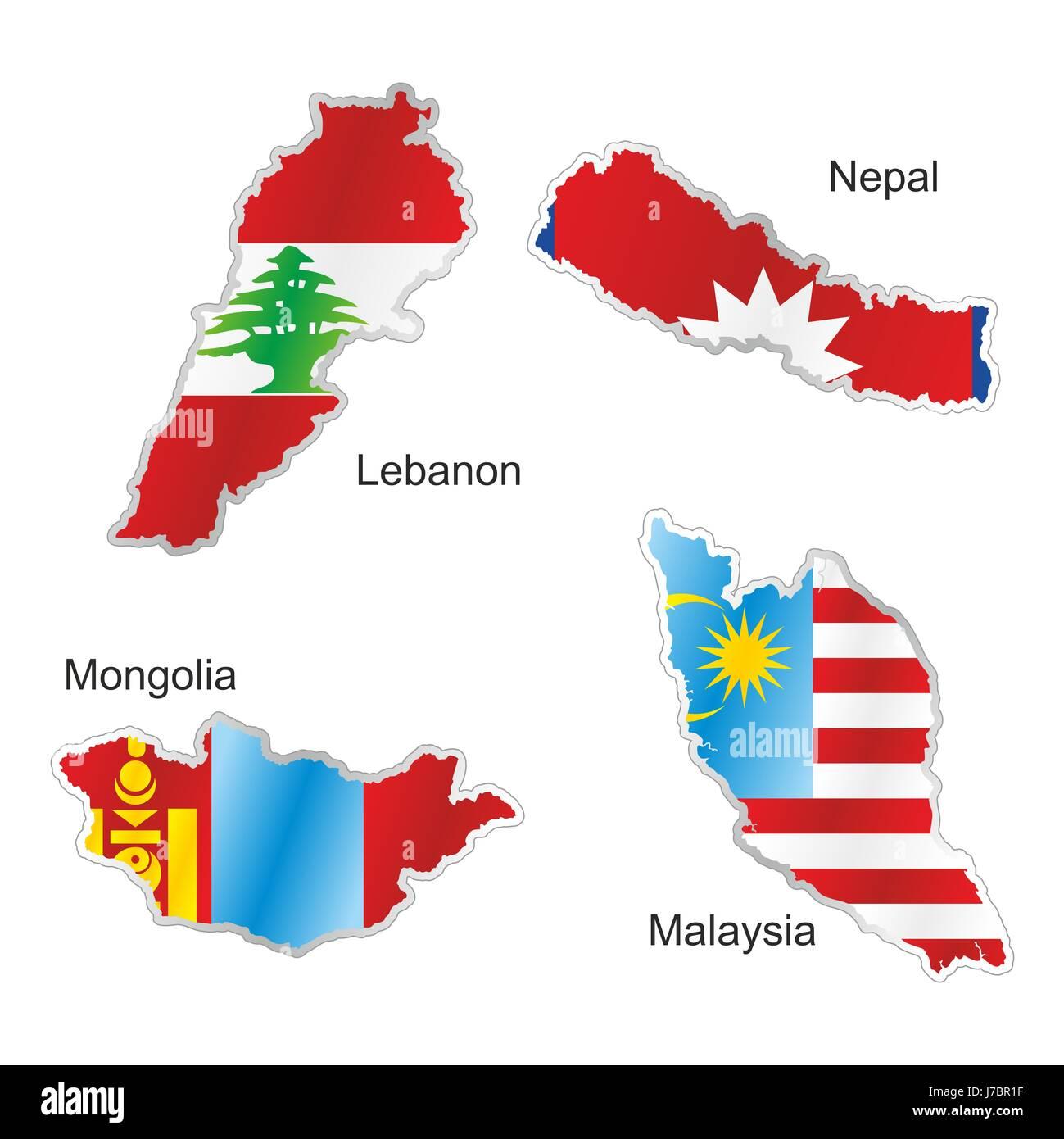 asia mongolia malaysia flag nepal lebanon map atlas map of the world ...