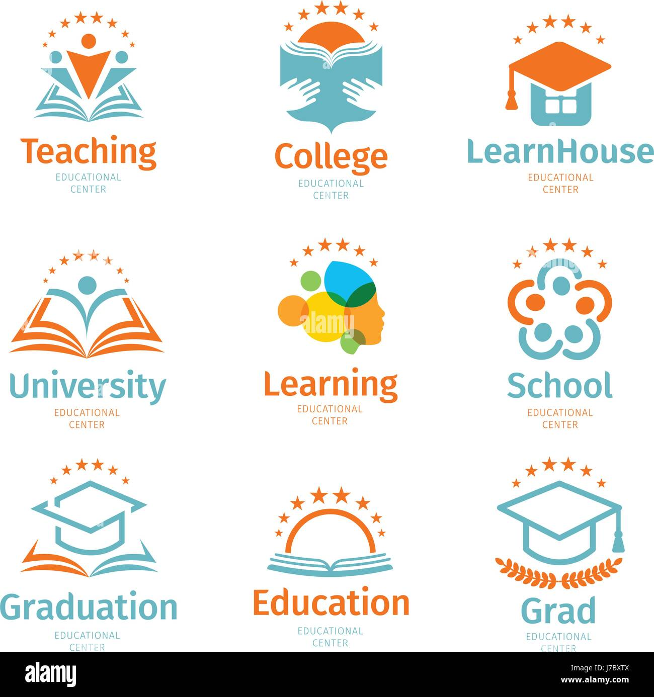 2a4cff32a58 Isolated abstract colorful education and learn logo set
