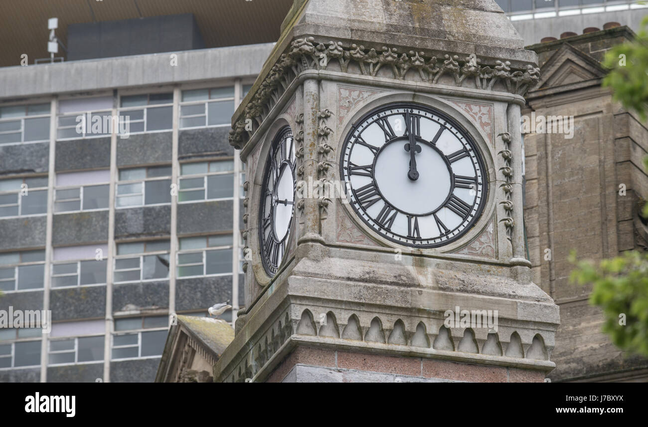 Copyrighted Image by Paul Slater/PSI - Derry's Cross Clock Plymouth,England - Stock Image