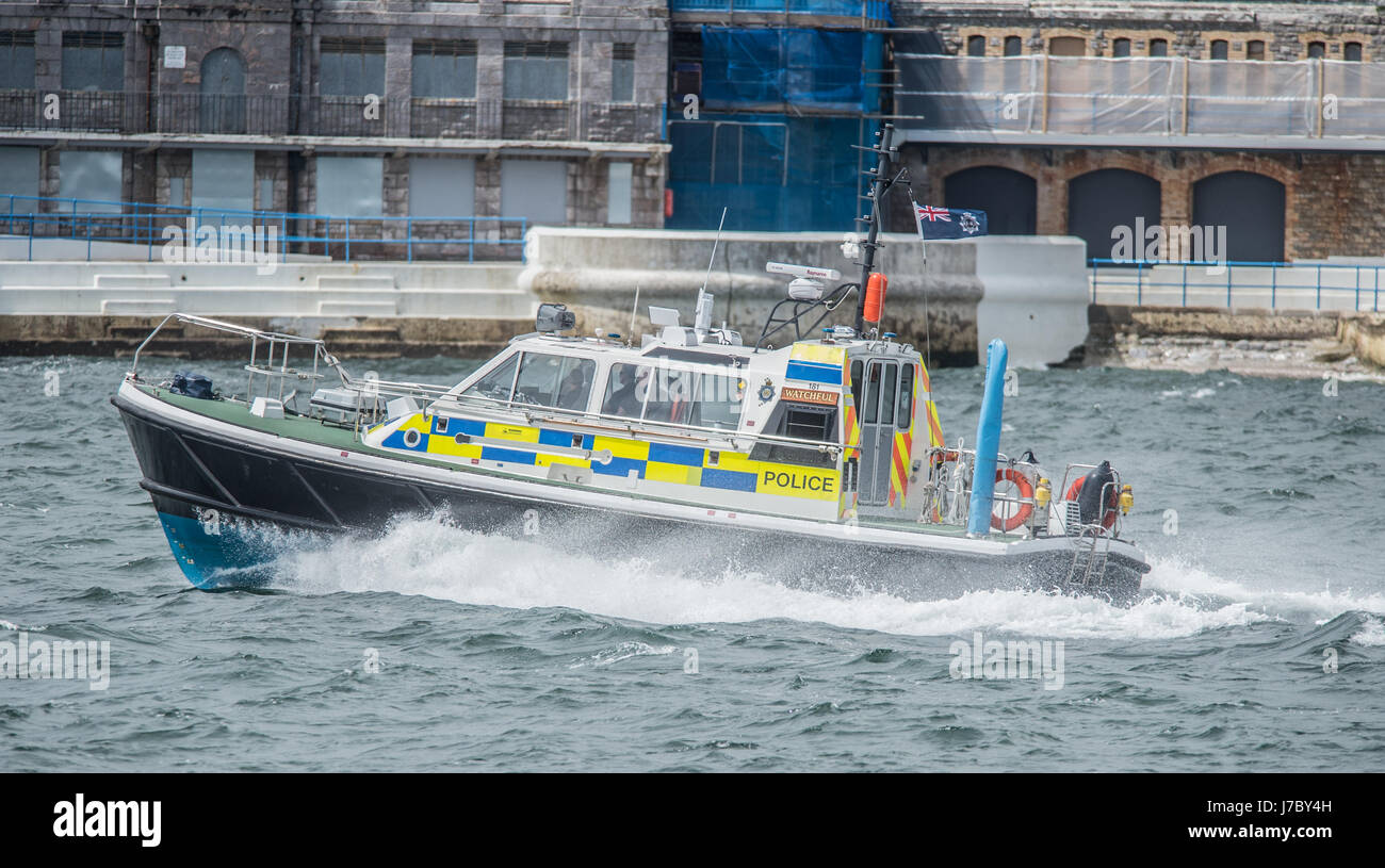 Copyrighted Image by Paul Slater/PSI  - A Police launch in Plymouth Sound on patrol. - Stock Image