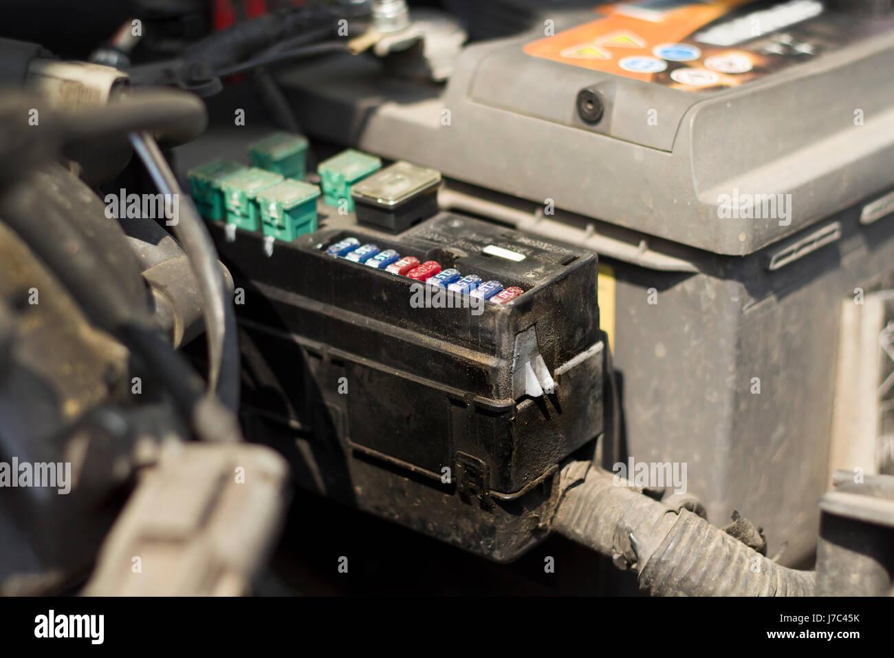 Car Fuse Stock Photos Images Alamy Automobile Box Under The Bonnet Of Image