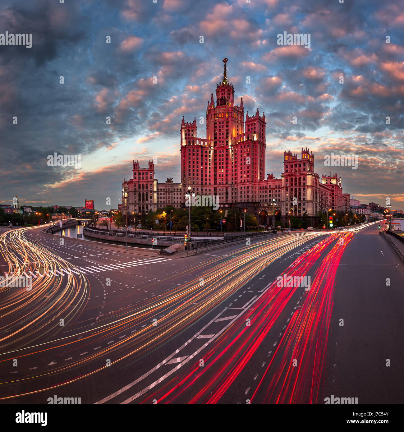 Kotelnicheskaya Embankment Building, One of the Moscow Seven Sisters in the Evening, Moscow, Russia Stock Photo