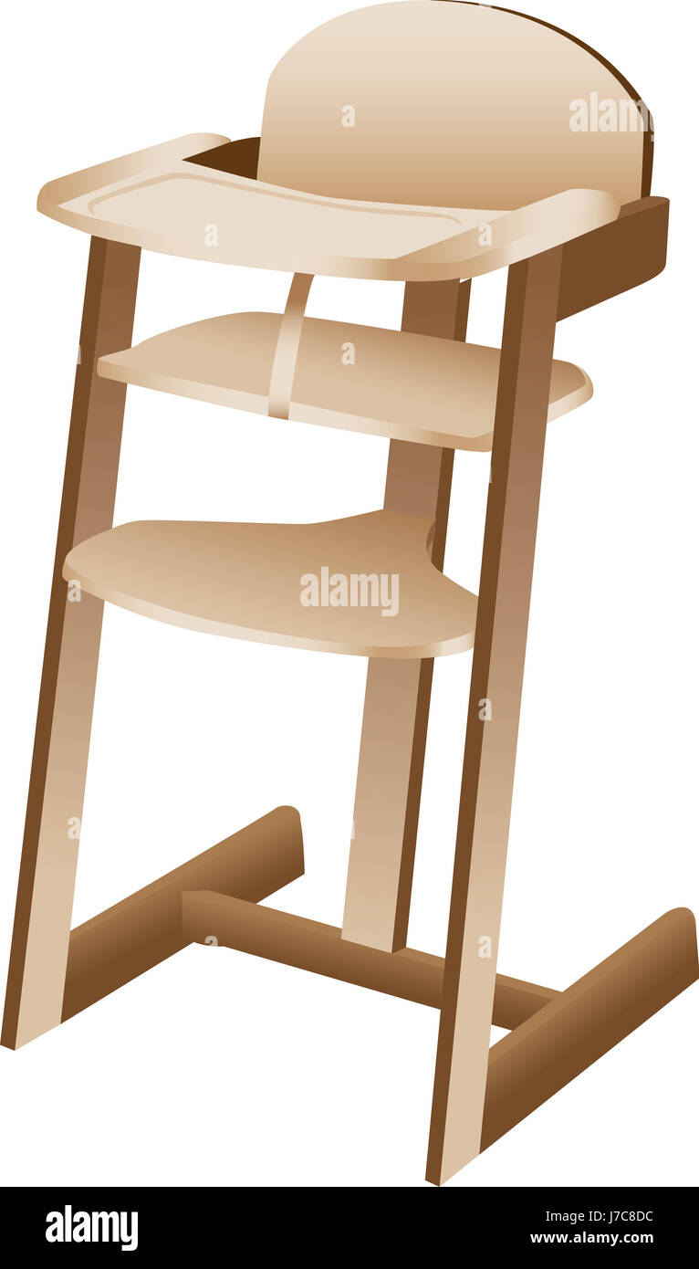 Wood Baby Seat High Childhood Wooden Tall Chair Toddler Single Isolated
