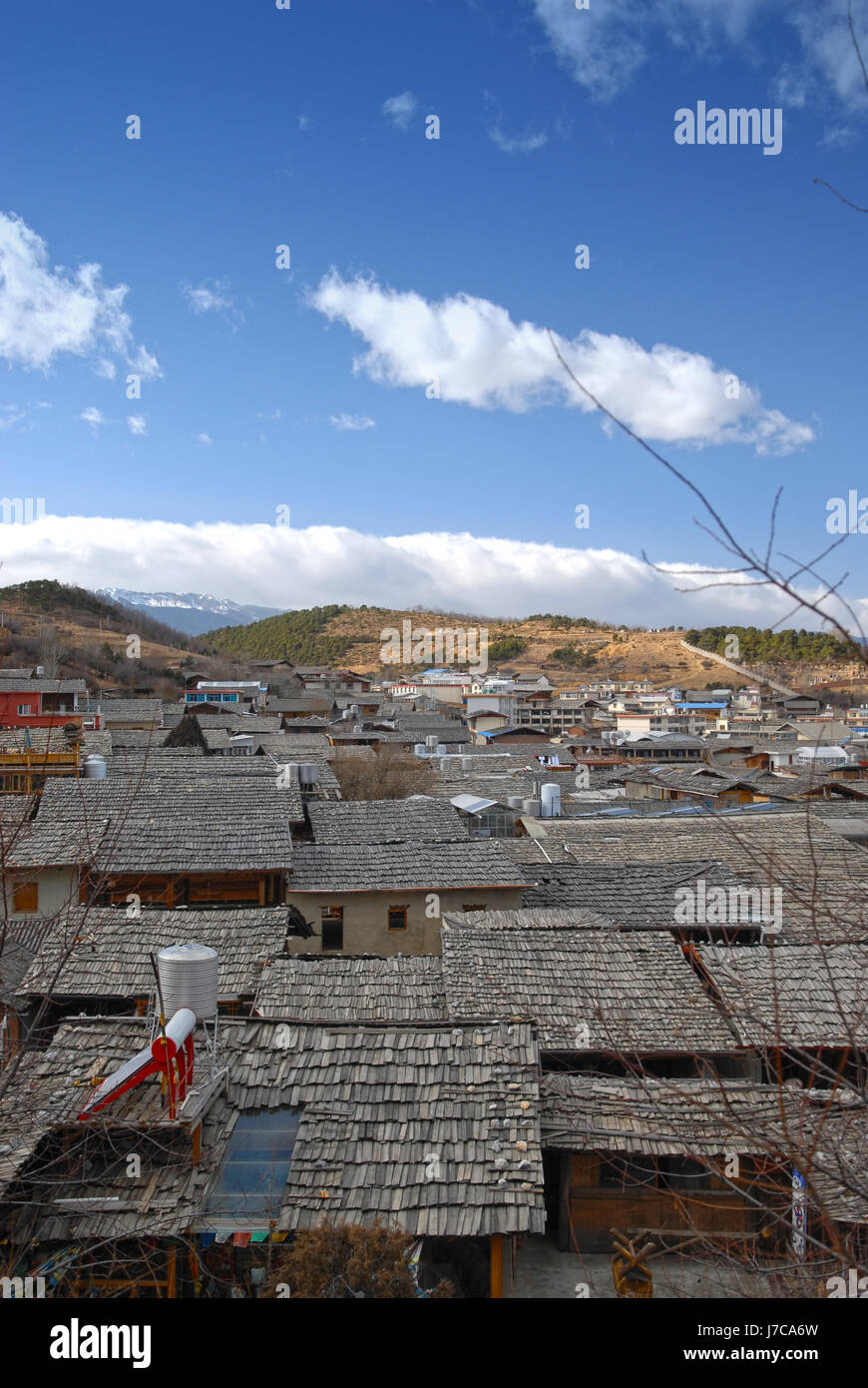 city town asia tibet china himalayas belief city town mountains asia tourism Stock Photo
