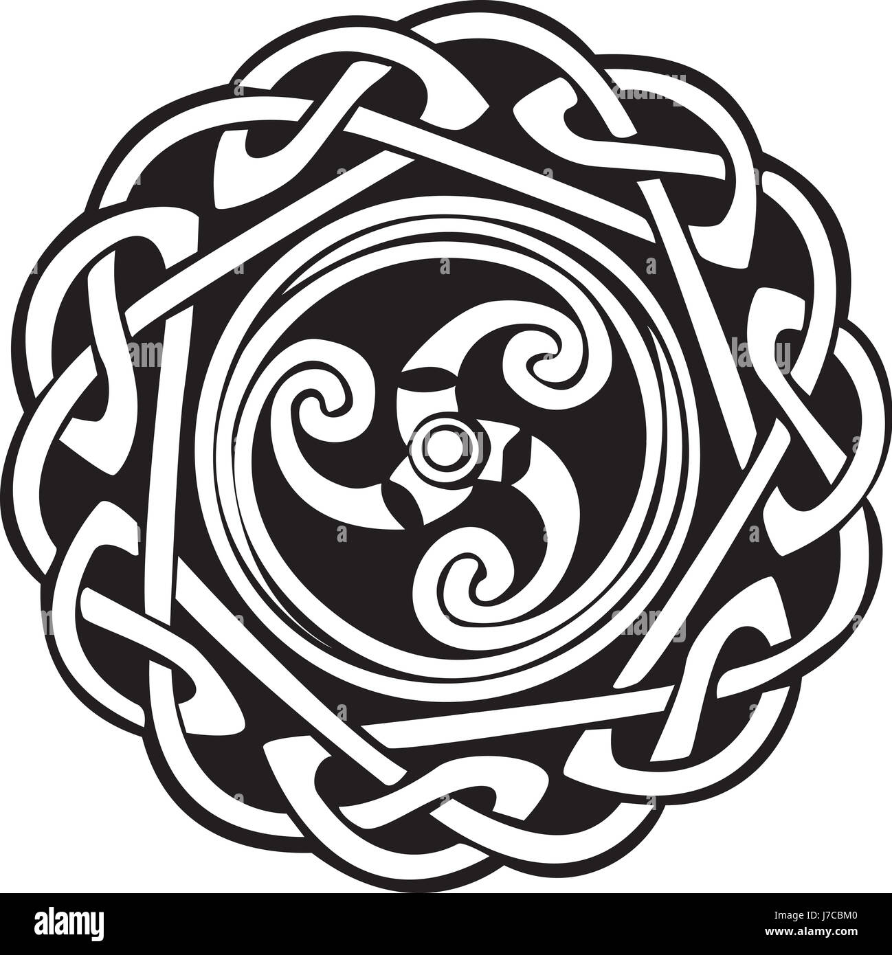 art black swarthy jetblack deep black abstract pattern complex celtic art - Stock Image