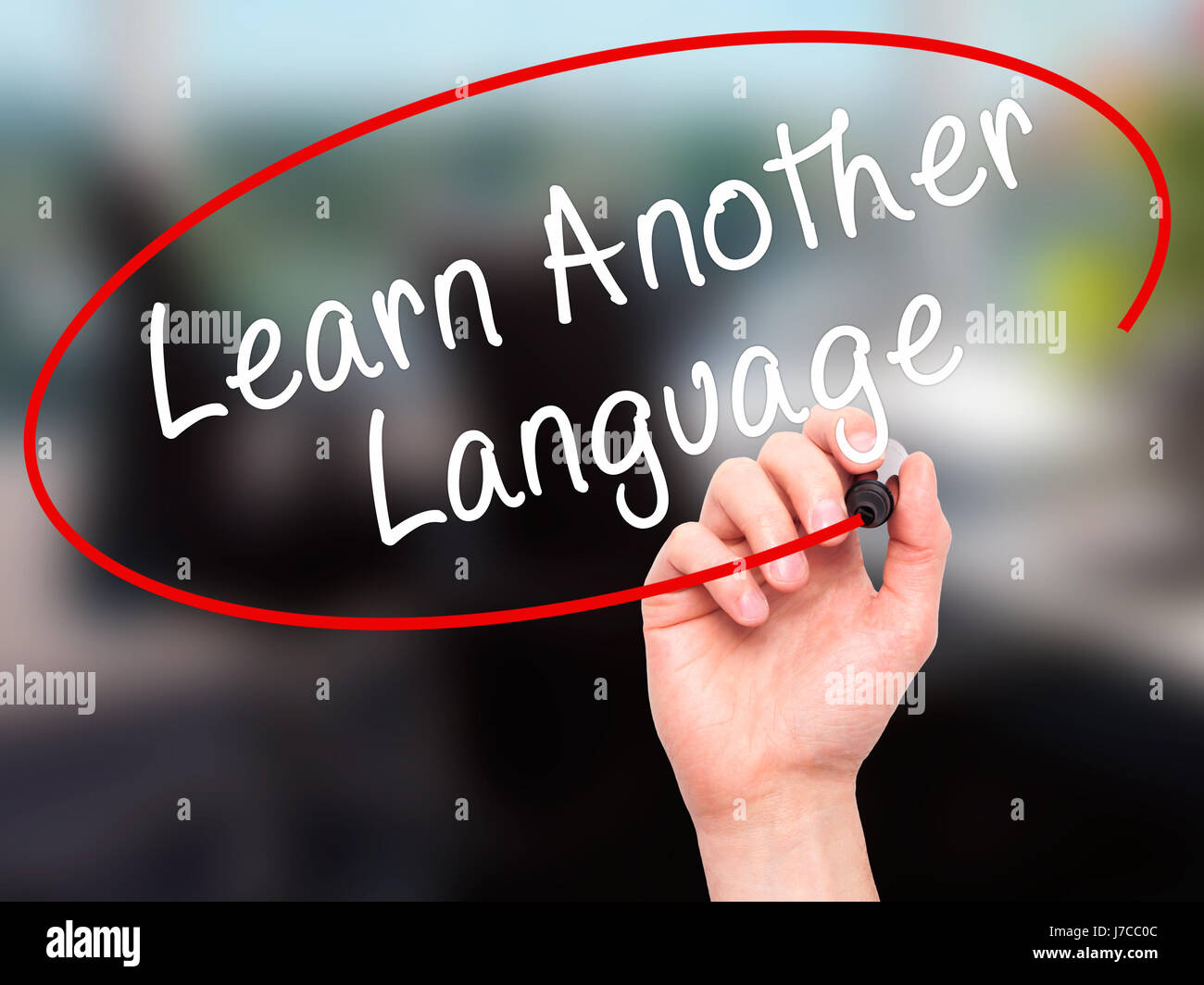 Man Hand writing Learn Another Language with black marker on visual screen. Isolated on office. Learn, technology, - Stock Image