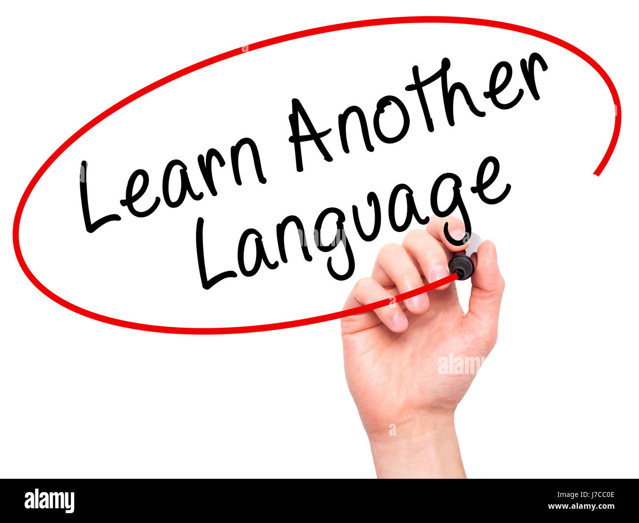Man Hand writing Learn Another Language with black marker on visual screen. Isolated on white. Learn, technology, - Stock Image