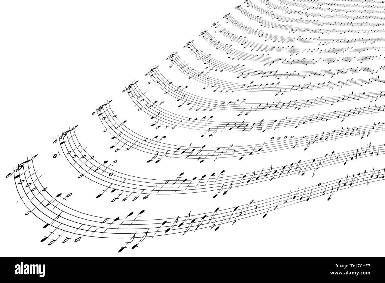 music notes songs song score clef treble notes songs song crooked warped - Stock Image