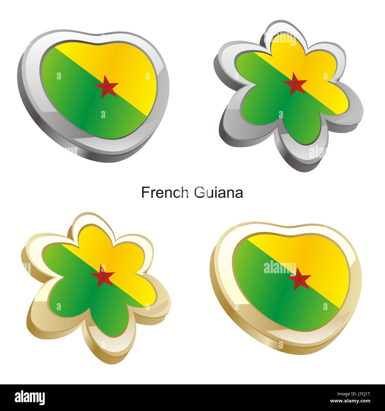 flower plant illustration flag french heart travel colour emblem flower plant - Stock Image