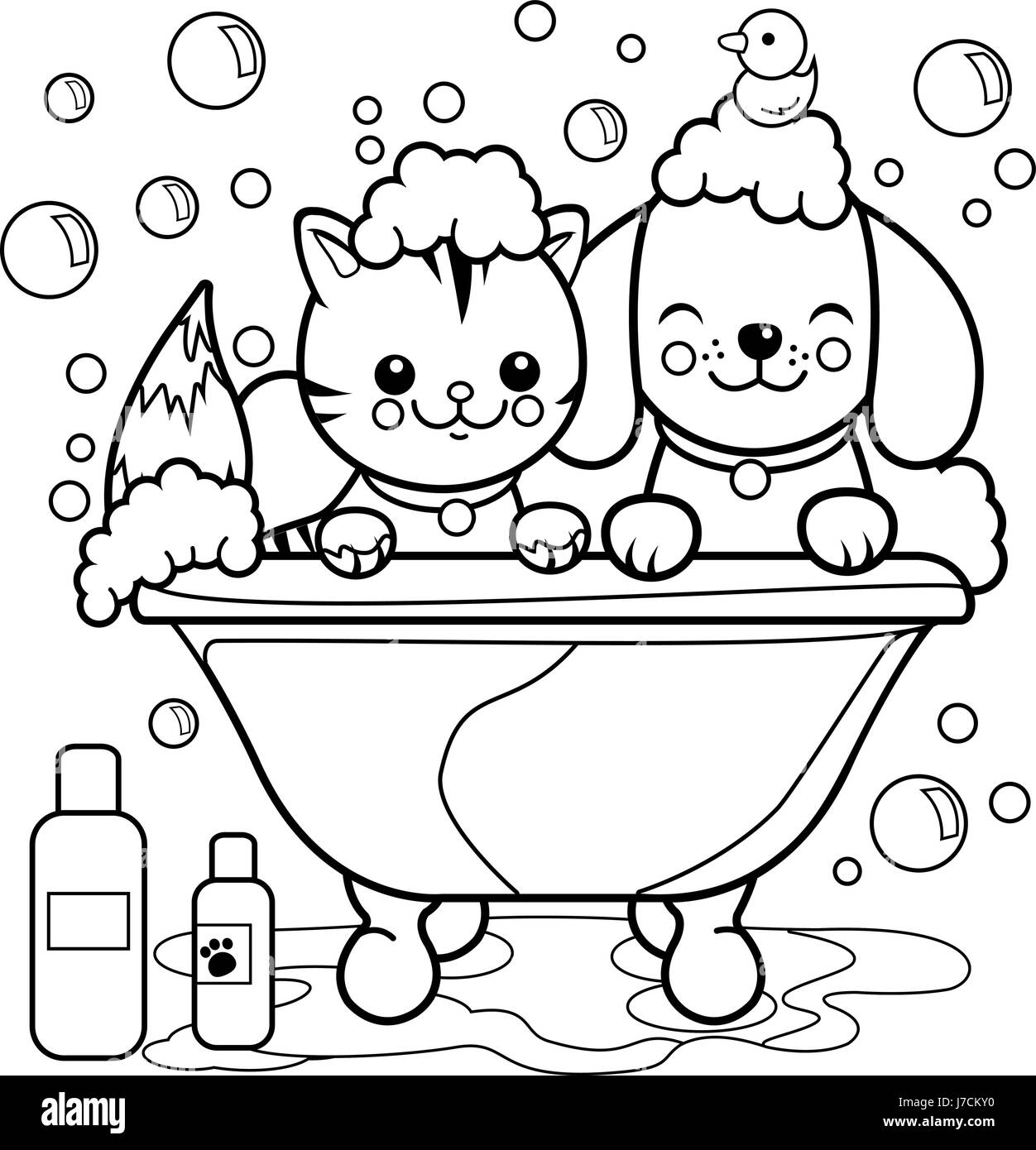 Dog and cat taking a bath. Coloring book page Stock Vector Art ...