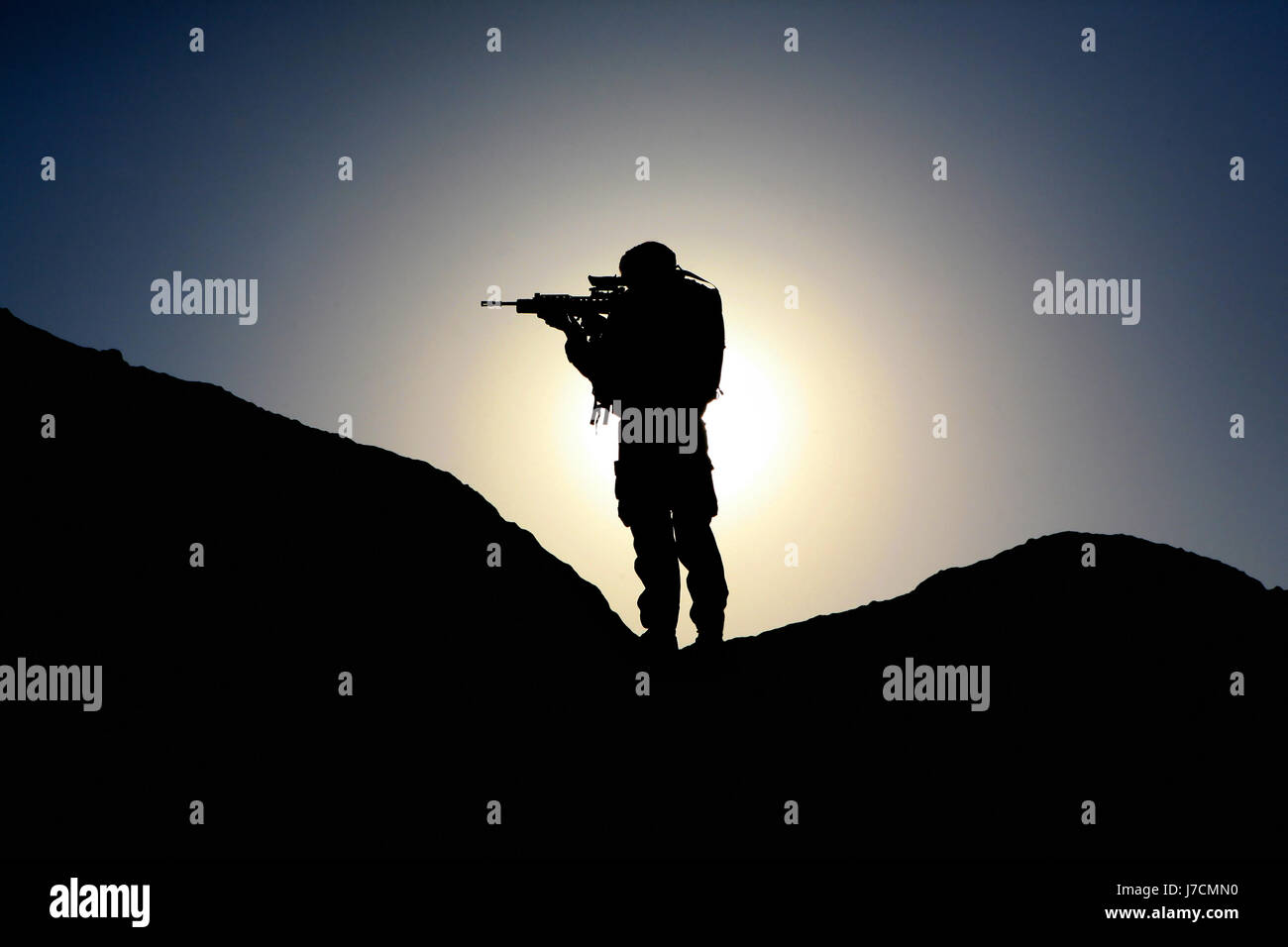 silhouette of a Royal Marine Commando at Kala Bost Fort Helmand Province Afghanistan - 02/11/2006 - Stock Image