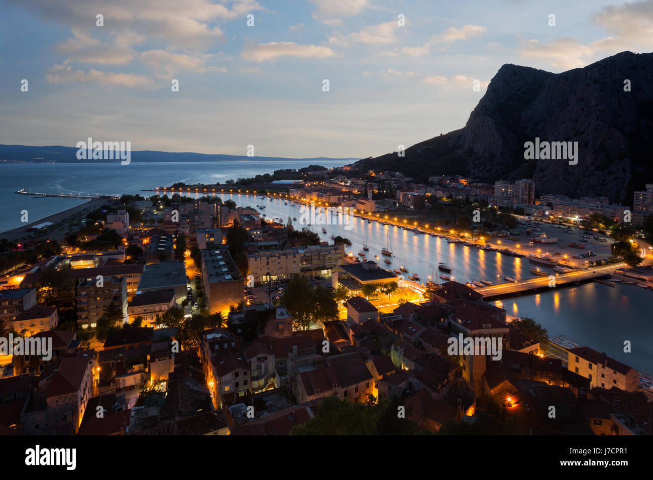 Omis town and river Cetina delta in sunset, Croatia - Stock Image