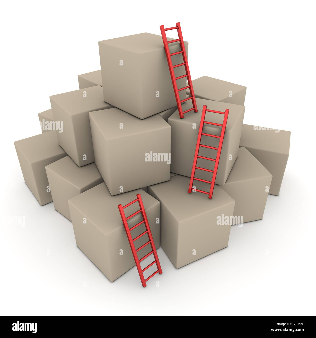 up on growth box boxes blocks ladder cubes red steps stairs object isolated - Stock Image