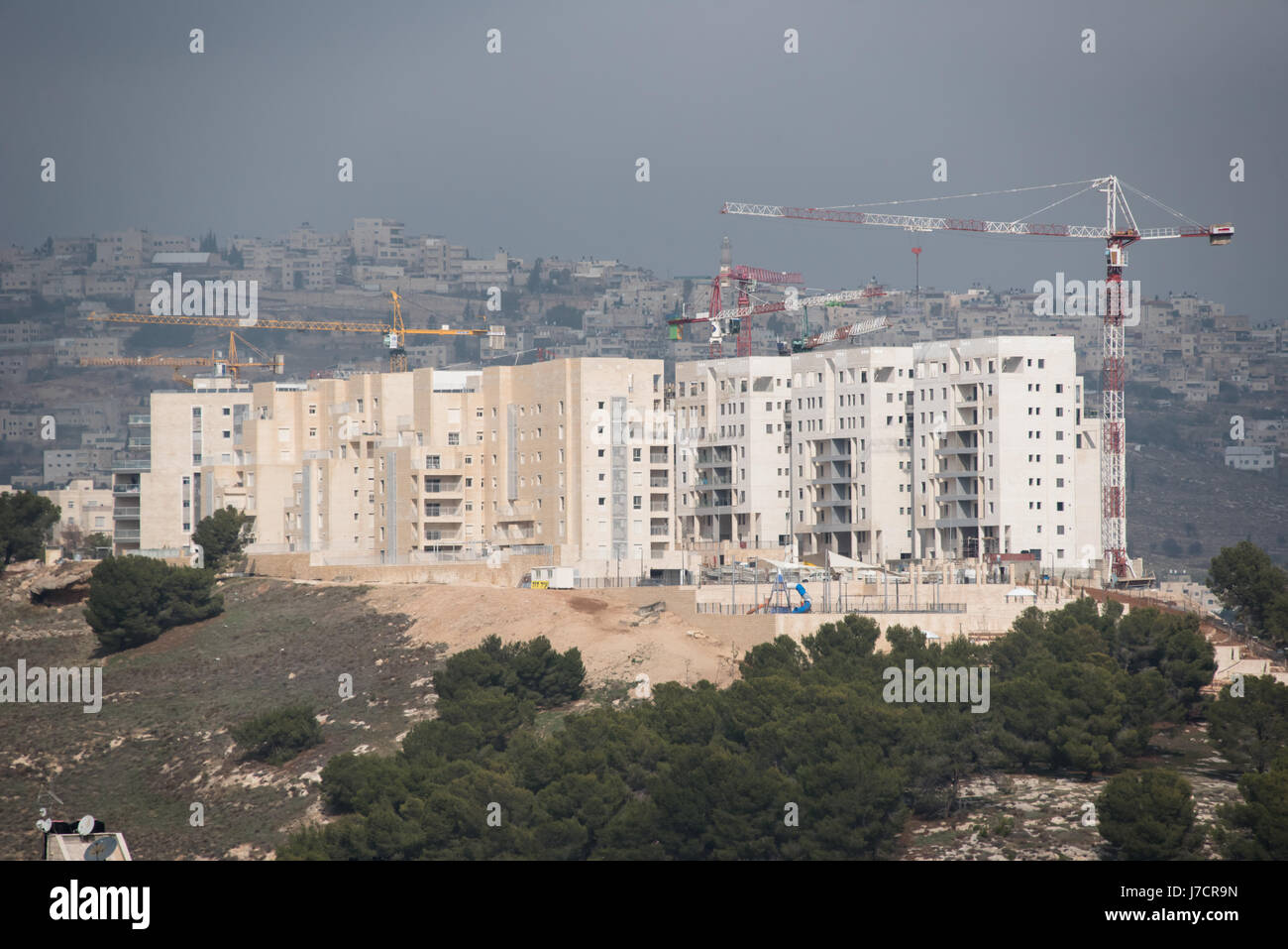Construction cranes tower over expansion of Har Homa, an Israeli settlement build on land taken from the West Bank - Stock Image