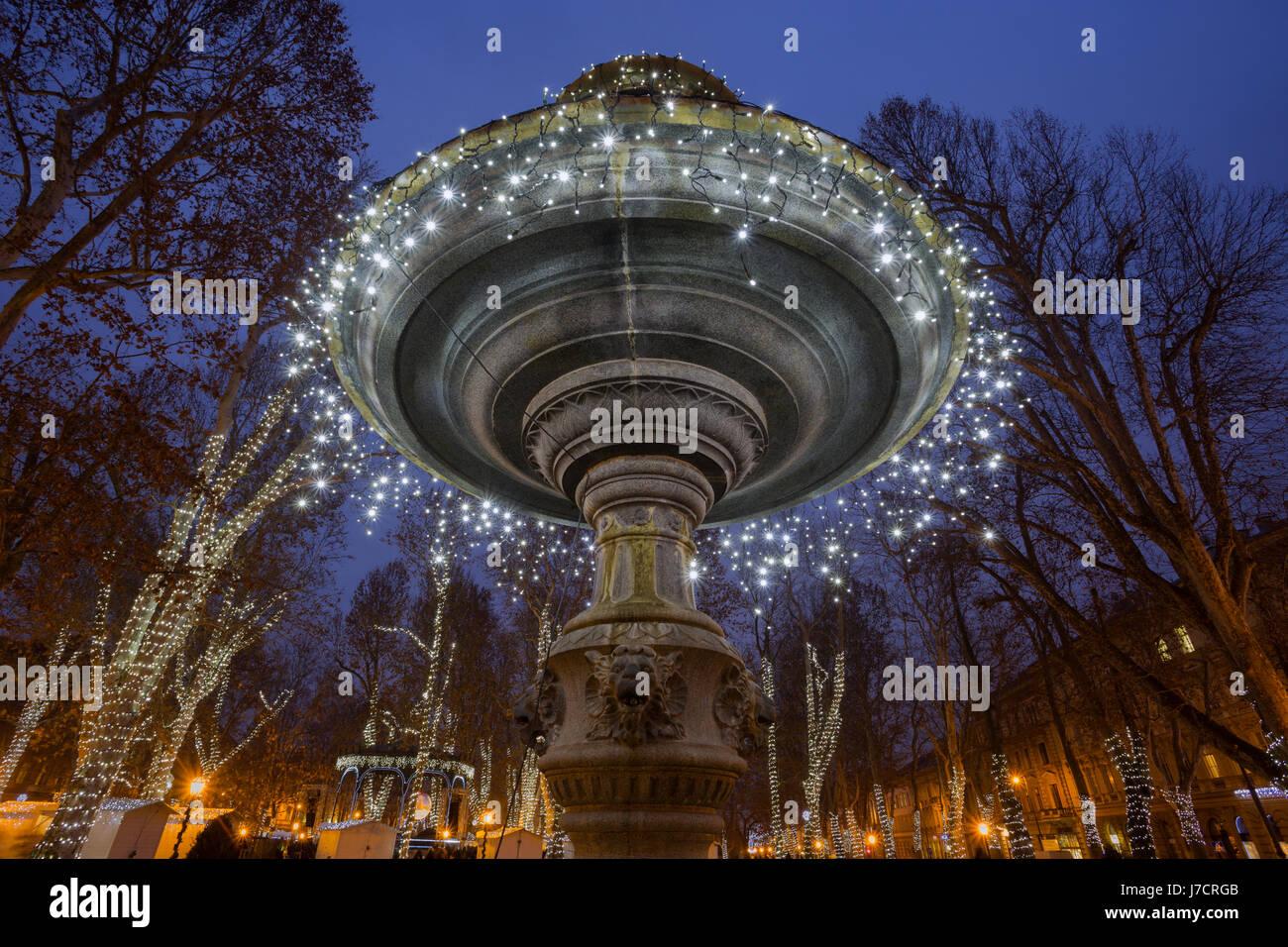 Advent decoration on promenade in Zagreb, Croatia - Stock Image