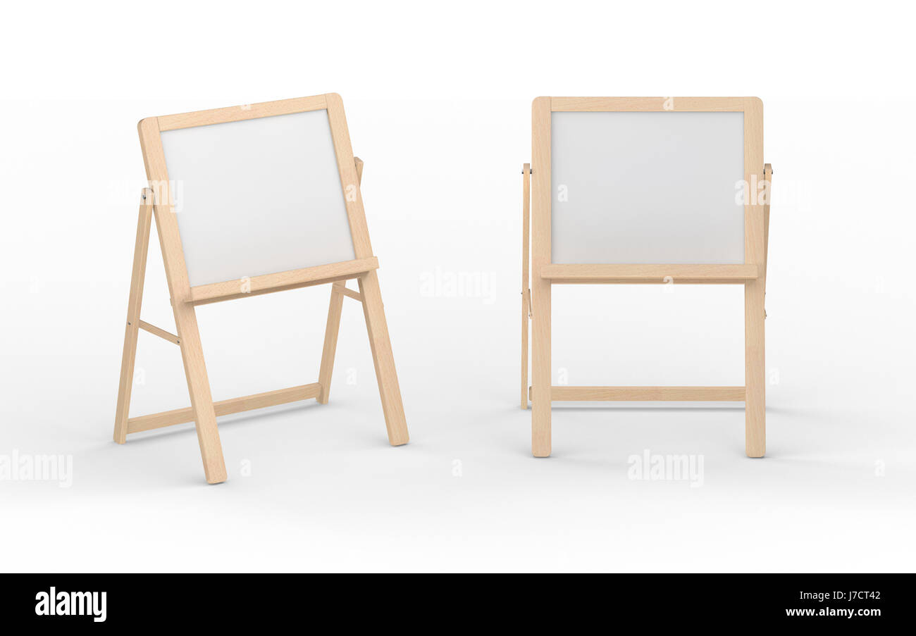 Blank whiteboard stand with wooden frame isolated on white, clipping ...